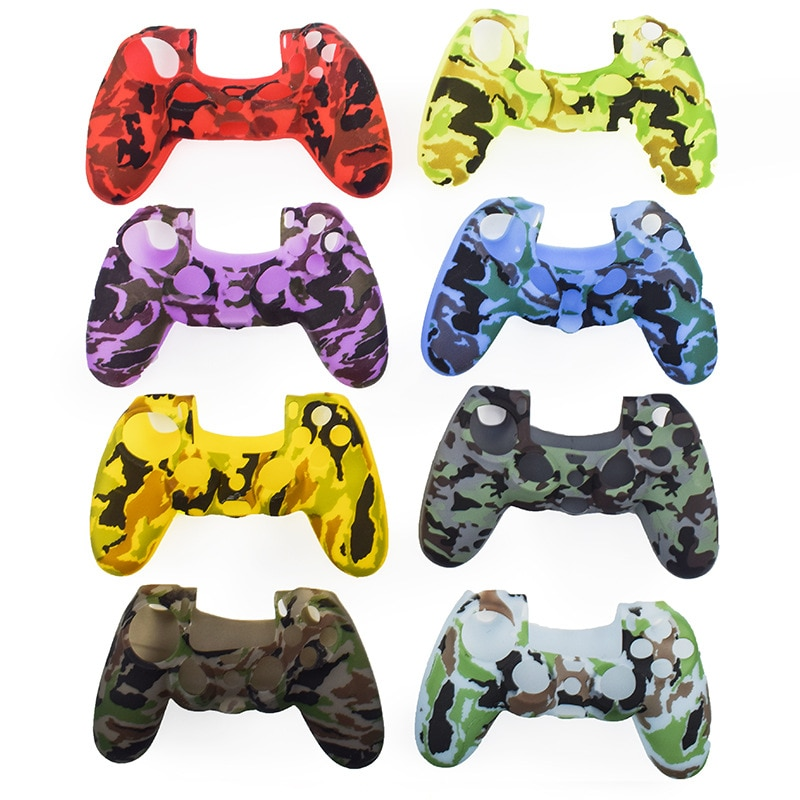 New PS4 Controller Camouflage Protective Silicone Rubber Case Cover Skin Soft Gamepad controle Gel