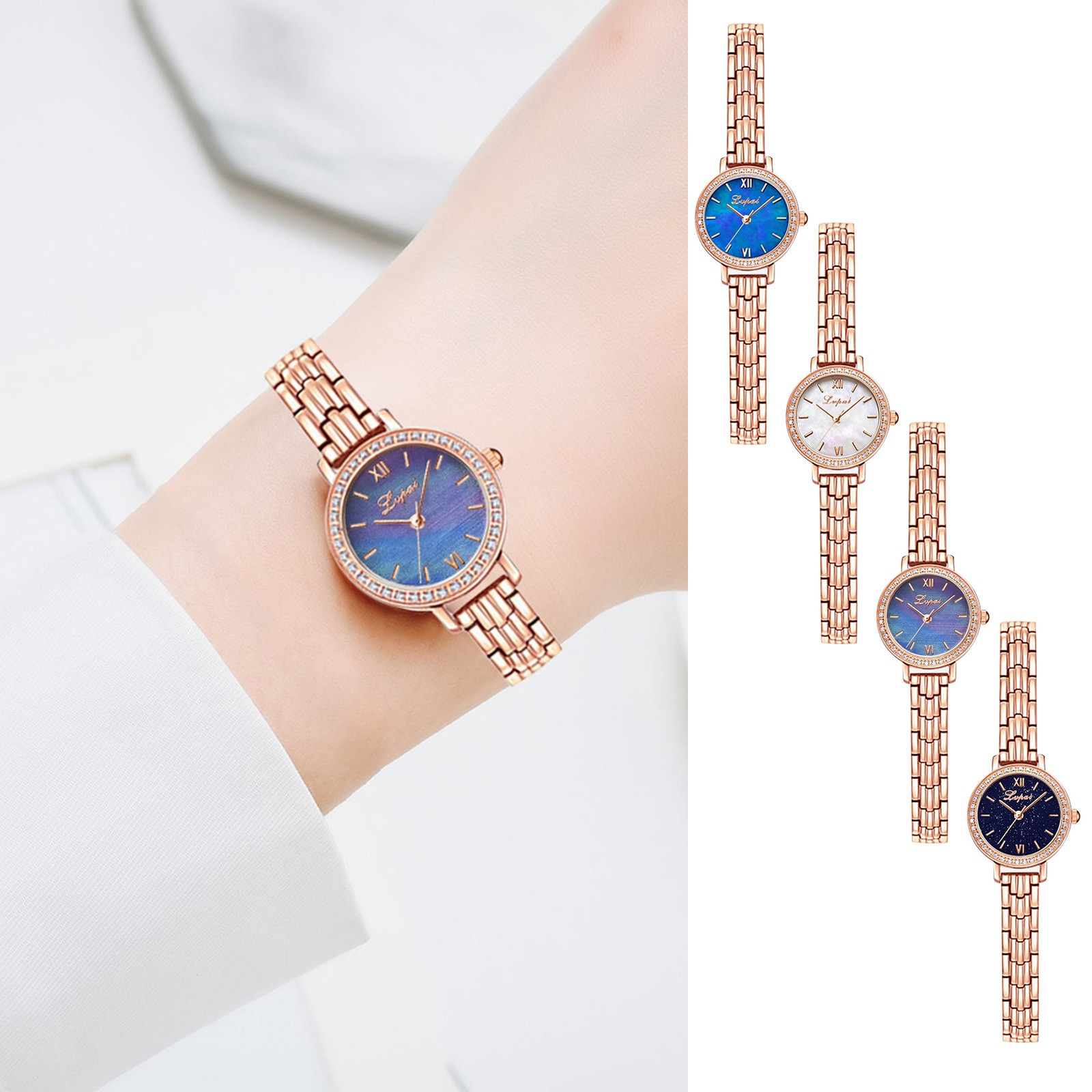 Small Exquisite Quartz Watch Stainless Steel Strap Women Fashion  Bracelet Clasp Wristwatch Montre F