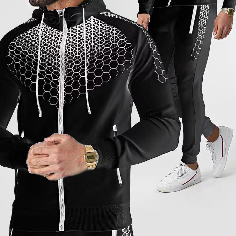 Мужской осенне-зимний новый трендовый Модный повседневный спортивный свитер, костюм с капюшоном на молнии, свитер, костюм
