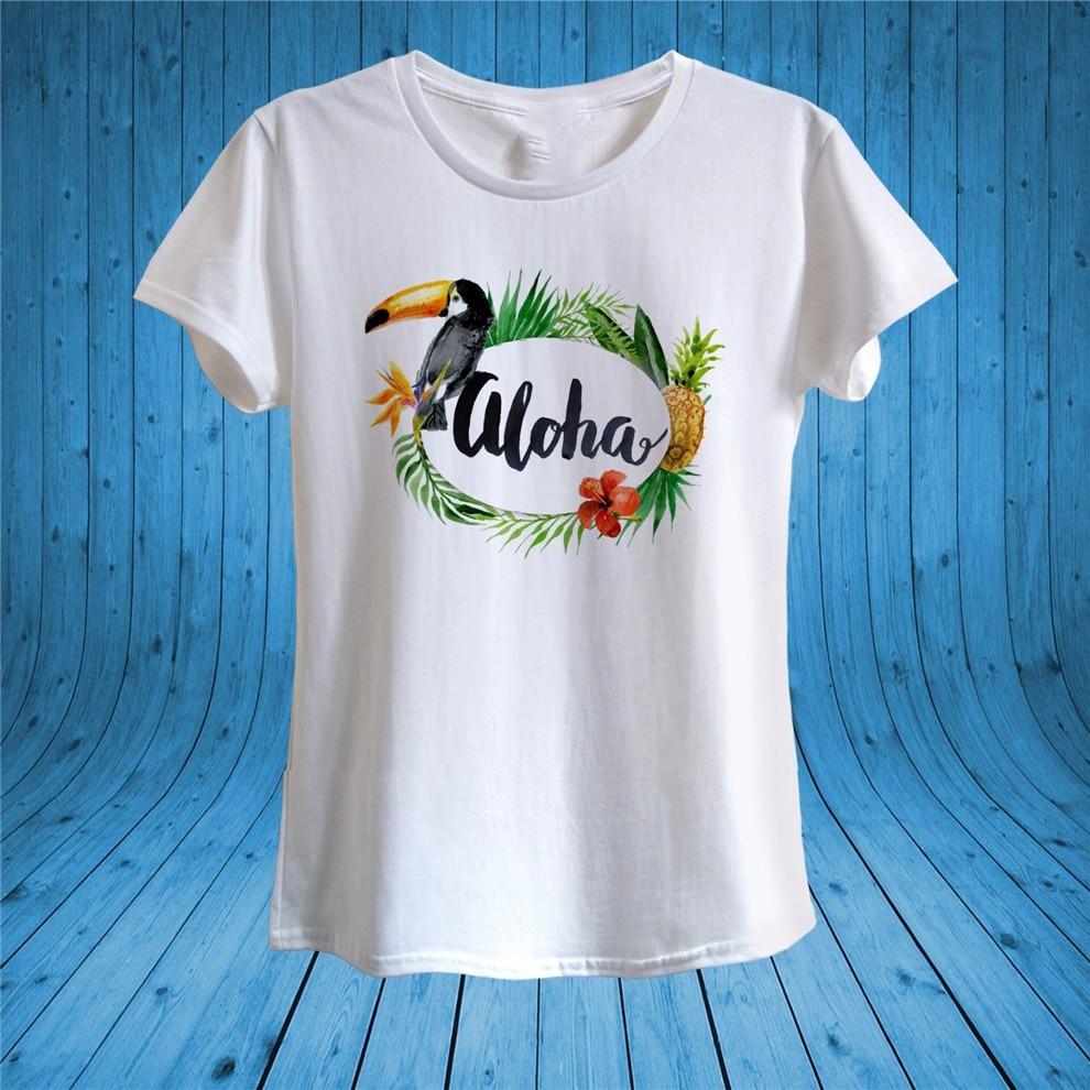 Aloha Print Toucan Pineapple Flowers Summer T-Shirt 100% Cotton Unisex Women Male Female Tee Shirt