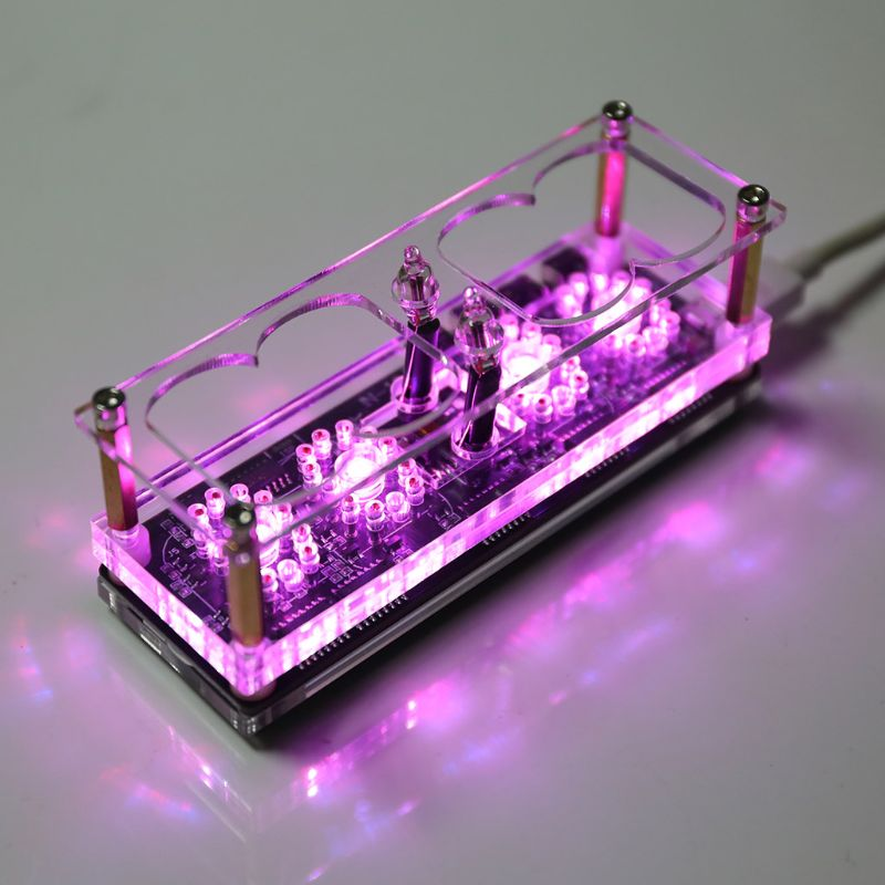 IN-12 Glow Tube Clock 7Color RGB DS3231 IN12 Nixie Tube Clock Steampunk Decor
