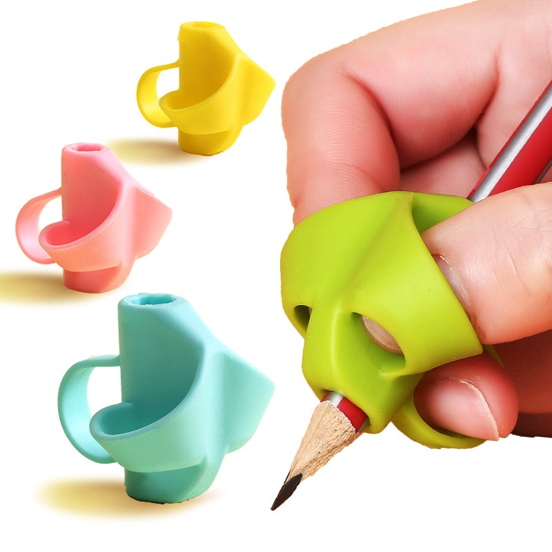 5Pcs Kids Pen Holder Silicone Training Drawing Toy Popular Silicon Baby Learning Writing Aid Grip Pe