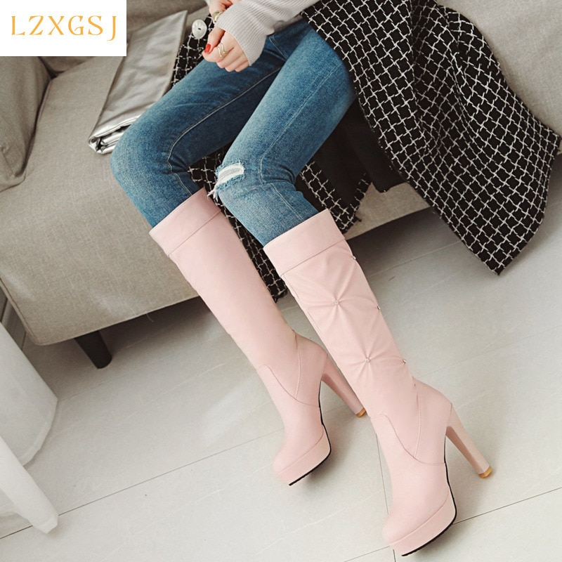 Women's High Boots Mid Calf Round Toe  Platform Woman Shoes 2021 Fashion Pu Leather Boot For Female Women Shoes Designer
