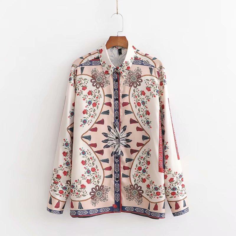 Mulheres vintage flor borla impressão casual negócios blusa senhora escritório turn down colarinho tribunal camisas quimono feminino topos ls4368