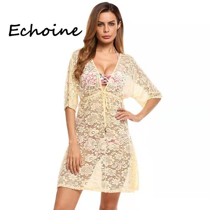 Echoine sexy vestido de renda ver através profundo v-neck bandage vestido clubwear vestidos mulher festa noite sólida plus size 2xl