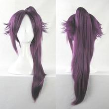 Eau de javel Shihouin Yoruichi Cosplay perruques haute température fibre synthétique Base de cheveux perruque tigre pince violet cheveux avec filet de perruque gratuit