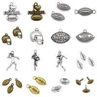20~150pcs Antique Silver Brass Gold Football Player Helmet Charms I Heart Love Football Beads Pendants