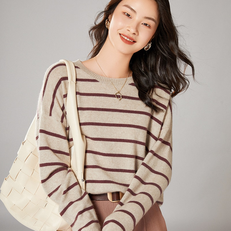 adohon 2021 woman winter 100% Cashmere sweaters knitted Pullovers jumper Warm Female O-neck blouse striped long sleeve clothing enlarge