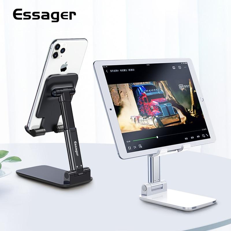 Essager Настольный держатель для мобильного телефона Подставка для iPhone iPad Регулируемая металлическая настольная подставка для планшета универсальная настольная подставка для сотового телефона