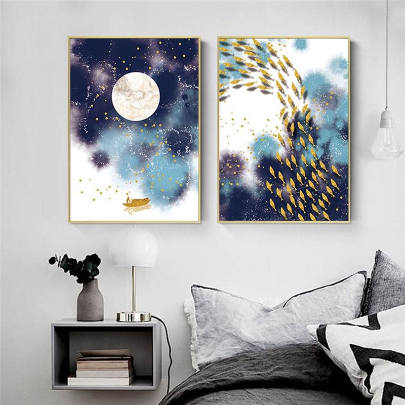 Абстрактный пейзаж, декоративные картины, настенное искусство, скандинавский холст, картины для гостиной, домашний декор, луна, искусство и ...