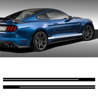 2pcs car body both side stripe skirt sticker 5d carbon vinyl decals for ford mustang 2015 present gt shelby 500 car accessories
