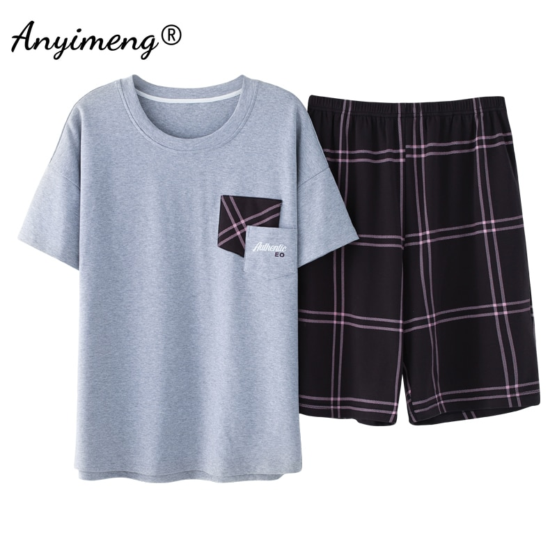 Young Men Pajamas for Summer Soft Breathable Cotton Home Clothing Sets Pullover Plaid Bottoms Casual Youth Teenagers Lounge Wear