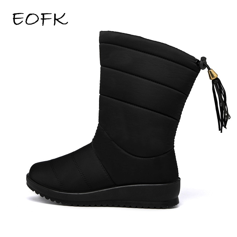 EOFK Fashion Women Boots Waterproof Snow Boots For Winter Shoes Ladies Casual Lightweight Mid-Calf Botas Mujer Warm Winter Boots