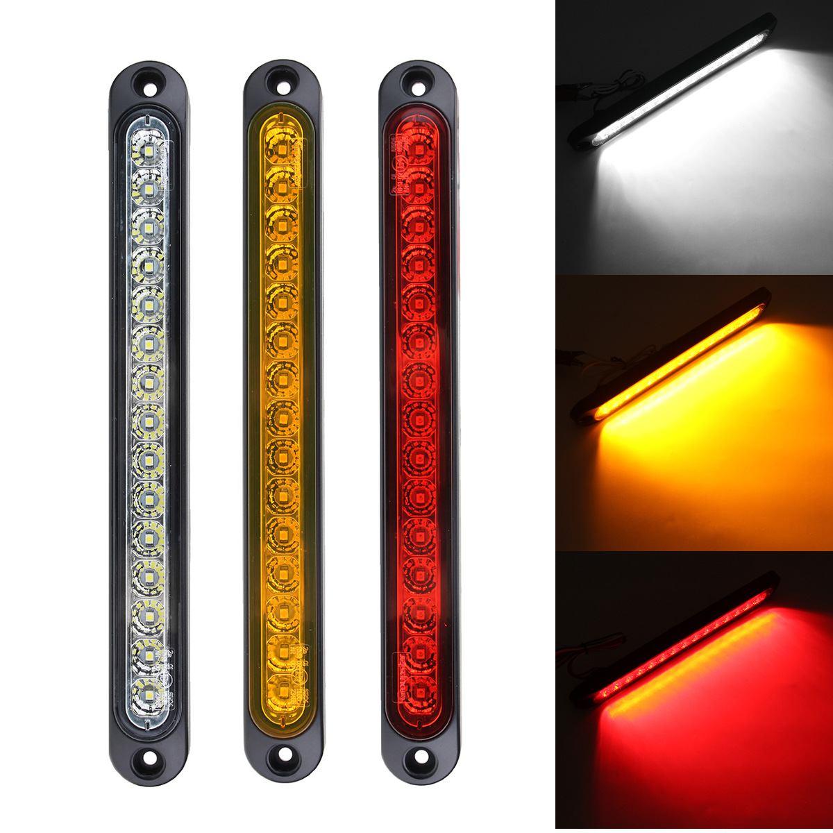 1/2 Uds. 25cm 15LED luces traseras rojas y blancas ámbar para coche lámpara de freno de LUZ ANTINIEBLA TRASERA Universal para camión remolque 10v-30v
