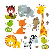 Animal Patches On Clothes Cartoon Animal Set Thermal Stickers Heat Transfer Iron On For Children T-s