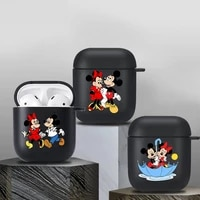 cartoon mickey bluetooth case for airpods 1 2 earphone funda suitable black soft apple airpods 2 wireless bluetooth charging box