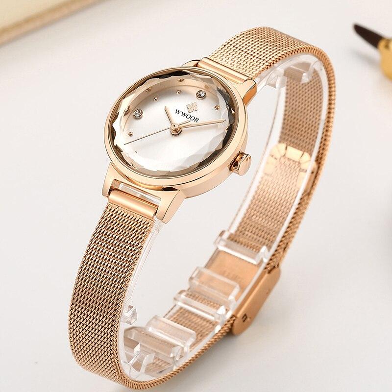 Reloj Mujer WWOOR Brand Luxury Diamond Women Watch Rose Gold Stainless Steel Ladies Quartz Watches Waterproof Casual Wrist Watch enlarge