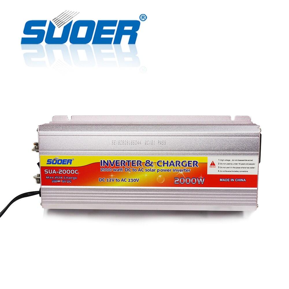 Suoer【 تعديل شرط موجة العاكس 】 12 فولت 220 فولت 2000 واط تيار مستمر عاكس الطاقة الشمسية التيار المتردد مع شاحن بطارية (SUA-2000C)