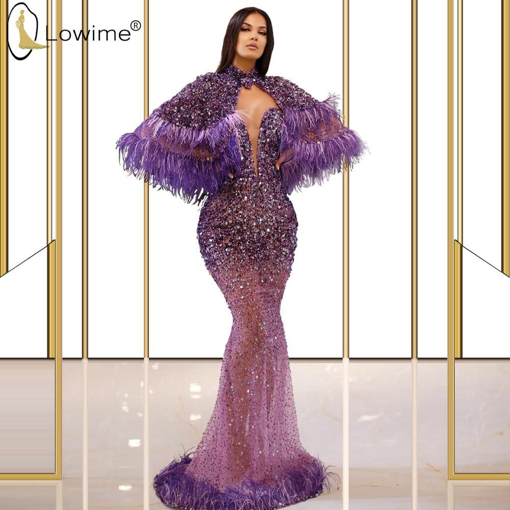 Púrpura de lujo sirena rebordear vestidos de noche con chal 2020 Sweetheart Neck Feathers Sexy Illusion vestidos de noche personalizados hechos