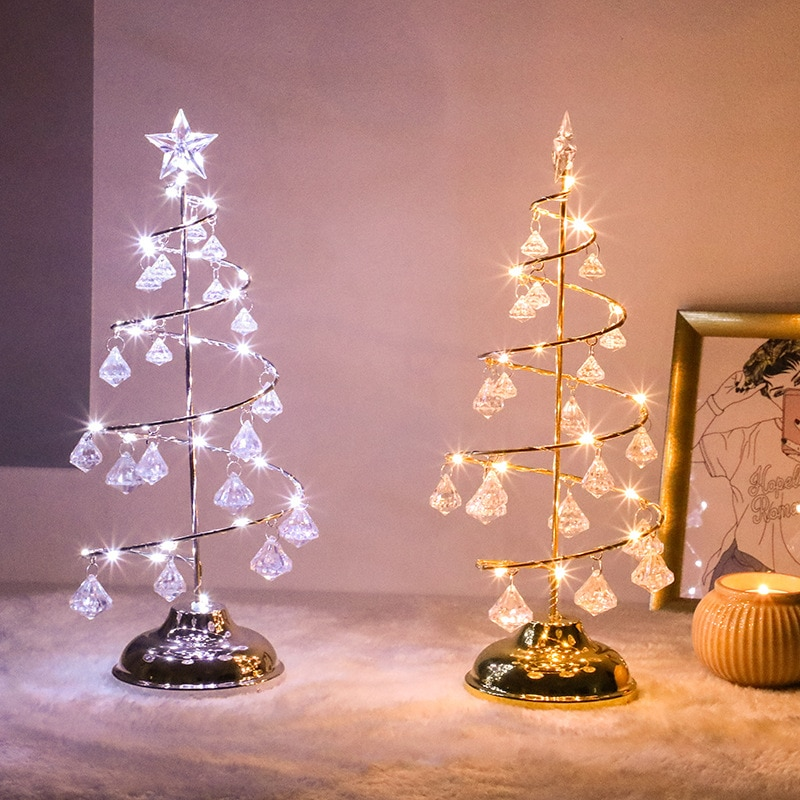 Crystal christmas lights Christmas tree decoration Night Light LED Desk Fairy Lights Bedside Lamp room decoration New Year 2022 2018 special offer time limited christmas tree new led christmas lighting yard decoration 1 6m led backdrop lamp h199