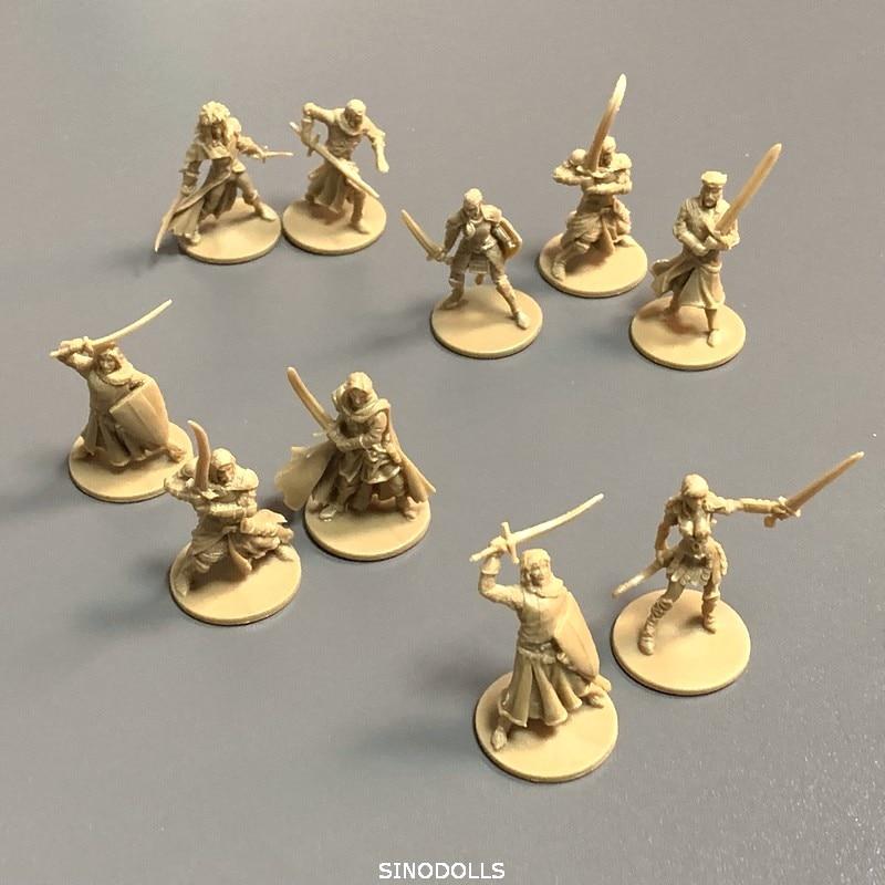 10 pçs/set 28mm Heróis Miniaturas Placa Modelo de Resina Figuras Do Jogo Role Playing Brinquedos Do Menino