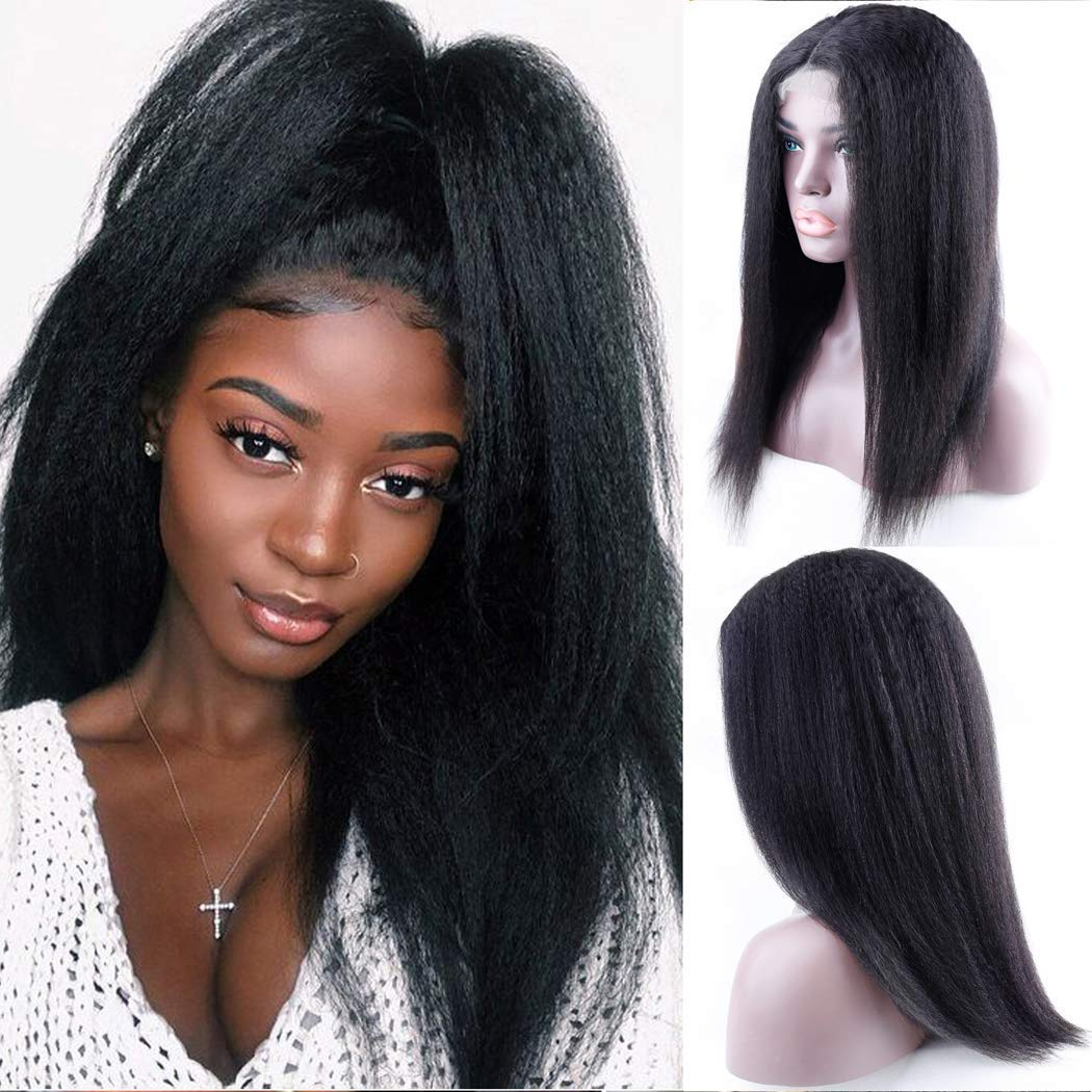 Yaki Straight 13X4 Lace Frontal Wig for Women Pre Plucked Natural 4X4 Lace Closure Wigs Mongolian Kinky Straight Human Hair Wigs