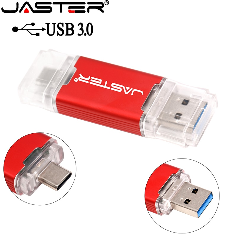 JASTER tipo C USB 3,0 de memoria Flash 16GB 32GB 4G 8GB 64GB 128GB U disco USB Flash Drive para el ordenador/Interfaz de tipo C