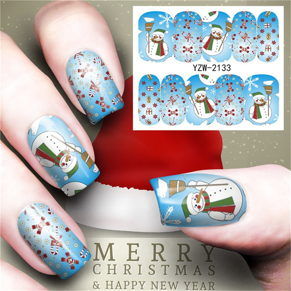 11.11 Merry Christmas Hristmas Tree Nail Sticker Water Decals Nail Glitter Flower Cat Butterfly Transfer Nail Art Decoration