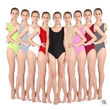 Mujeres adultas blanco negro verde naranja leotardo para gimnasia Ballet Dancewear metálico baile leotardo body gimnástico Unitard