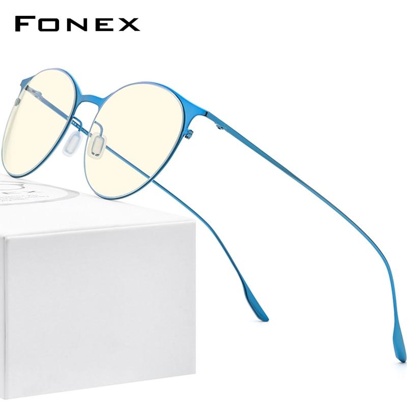 FONEX Anti Blue Light Blocking Glasses Women Brand Designer 2020 New Vintage Round Antiblue Rays Computer Eyeglasses Men FAB016