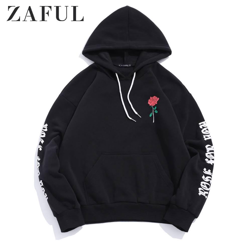 ZAFUL Rosa carta gráfico chompa polar con capucha sin mangas flor letra impresa Casual sudaderas otoño al aire libre con