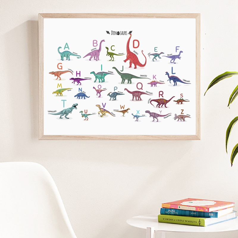 Abecedario estampado de dinosaurio Animal ABC letras de aprendizaje cartel educativo para...