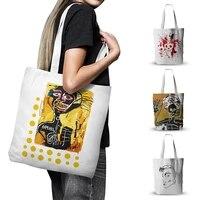 fashion abstract art canvas bag funny graffiti skull tote bag women shoulder bag large capacity handbag reusable shopping bag