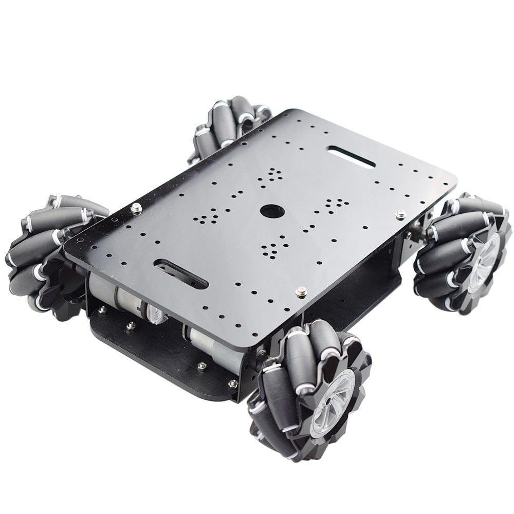 New 5KG Load Double Chassis Mecanum Wheel Robot Car Chassis Kit with 4pcs 12V Encoder Motor for Arduino Raspberry Pi DIY STEM