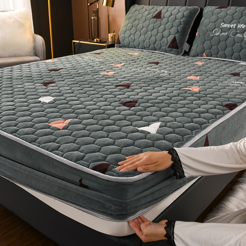 الكريستال المخملية رشاقته مبطن غطاء مرتبة سرير الملك الملكة مبطن مفارش سرير مكافحة البكتيريا وسادة السرير نفاذية الهواء
