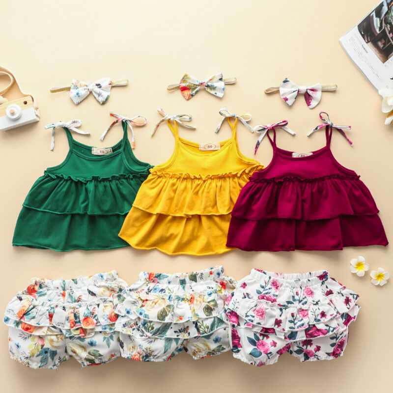 toddler baby girl kid outfit set tops t shirt tank floral skirt beach dress 1 5y AA 3Pcs Toddler Clothing Kid Baby Girl Clothes Ruffle Tops T-shirt Tutu Short Pants Outfit Set Ruffle Girls Clothing Set