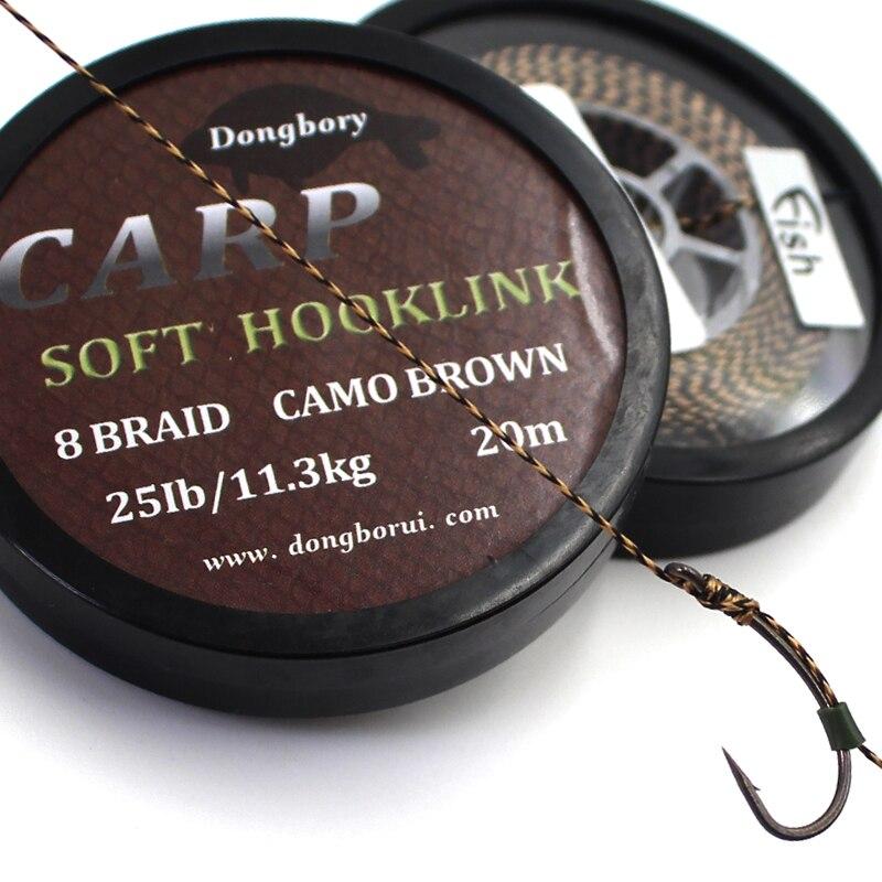 Línea de pesca de carpa de 20M, línea de enlace de gancho suave marrón de 8 hebras trenzadas para carpa Hooklink Camo, cable de aparejo de carpa de 15/25/35 lb para aparejos de pesca