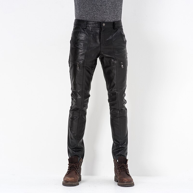 Men's Genuine Leather Pants 2021 Autumn Winter Male Tights Sheepskin Pants Motorcycle Leather Pants Cycling Leather Trousers