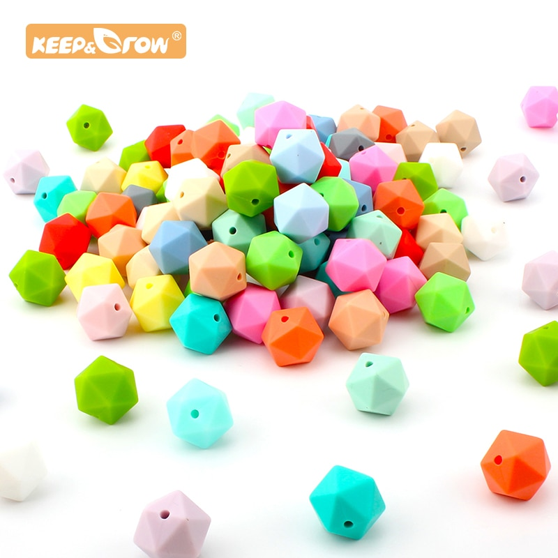 Baby Silicone 14MM Polygon Hexagon Chewing Beads 10pcs Teether Baby Teething Newborn Nursing Product
