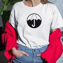 De Paraplu Academy T-shirt Vrouwen Casual Zomer Tshirts Katoenen Tops & Tees Vintage Zwart Wit Roze Grijs T-shirt Vrouwen