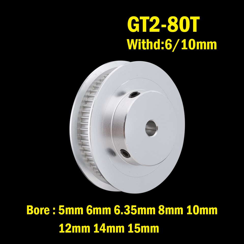 powge 30 teeth 2m 2gt timing pulley bore 5 6 6 35 7 8mm for 2mgt gt2 synchronous belt width 6 9mm small backlash 30teeth 30t 80 Teeth 2GT synchronous Pulley Bore 5/6/6.35/8/10/12/14/15mm for width 6/9/10/15mm GT2 pulley Belt 80Teeth 80T