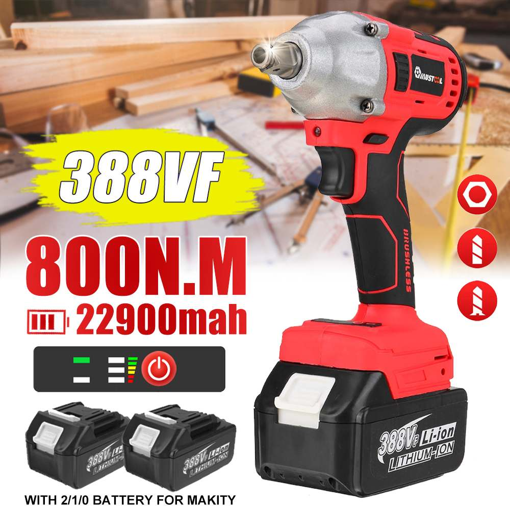 800N.m 388VF Brushless Electric Impact Wrench Screwdriver Rechargeable 1/2 Cordless Wrench Power Tools for Makita 18V Battery