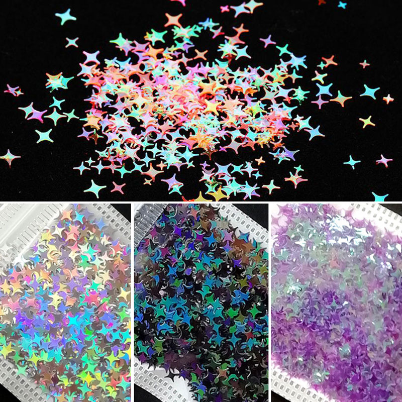 Nail Art Colourful Glitter Nail Sequins Holographicss Star Flakes Paillette Ongles 3D Nail Art Decoration DIY Manicure for Nails