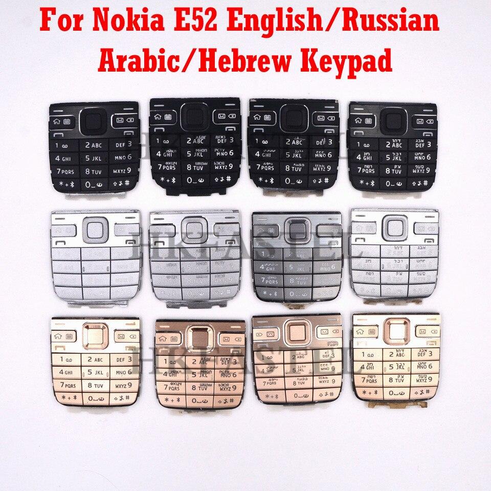 Para Nokia E52 carcasa de teléfono móvil reemplazar teclado negro plateado dorado inglés o ruso árabe hebreo Idioma teclado