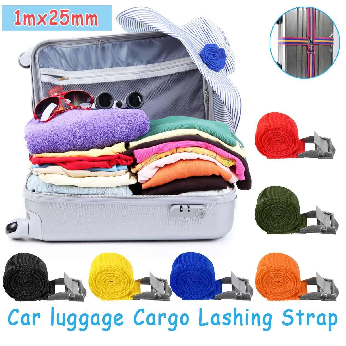4PCS 1Mx25mm Car Tension Rope Tie Down Strap Strong Ratchet Belt Car Luggage Bag Cargo Lashing Strap Zinc Alloy Zinc Nylon