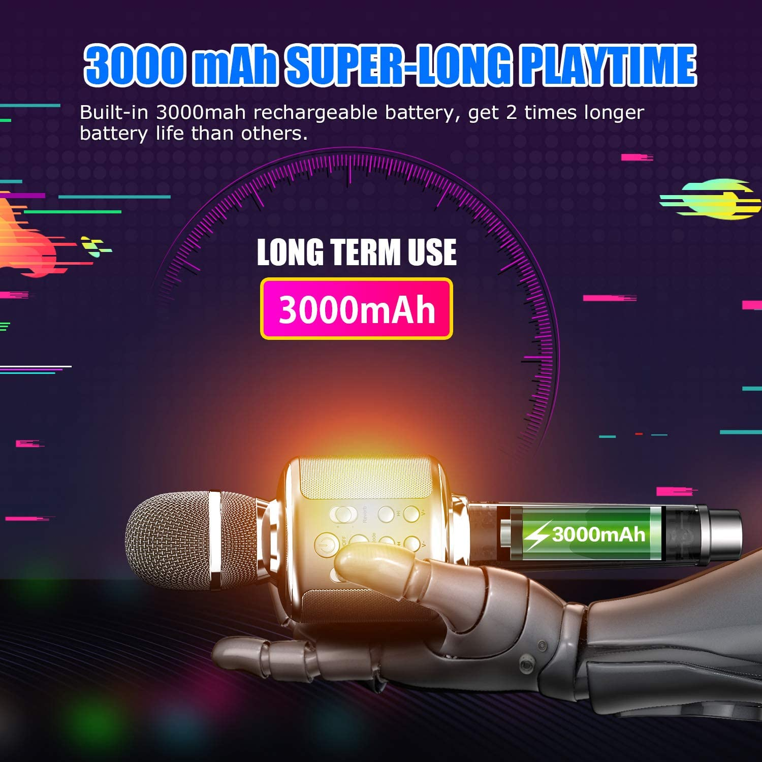 Wireless Bluetooth Speaker 5.0 Karaoke Speaker for Mobile Phone Portable Handheld Microphone TF Card AUX Standby for A Long Time enlarge
