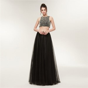 Sexy Luxury Beaded Evening Dresses Long Backless Formal Dress Women Elegant 2 Pieces Party Dress Plus Size Tulle Black Gala Gown