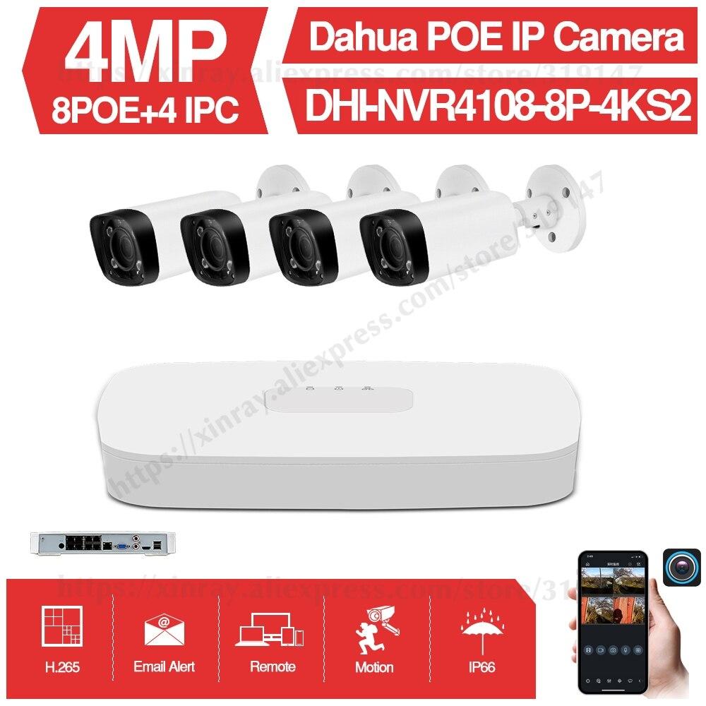 Dahua 4MP 8 + 4 cámara CCTV de seguridad Kits Original NVR NVR4108-8P-4KS2 cámara IP IPC-HFW4431R-Z Motor Zoom sistema de vigilancia