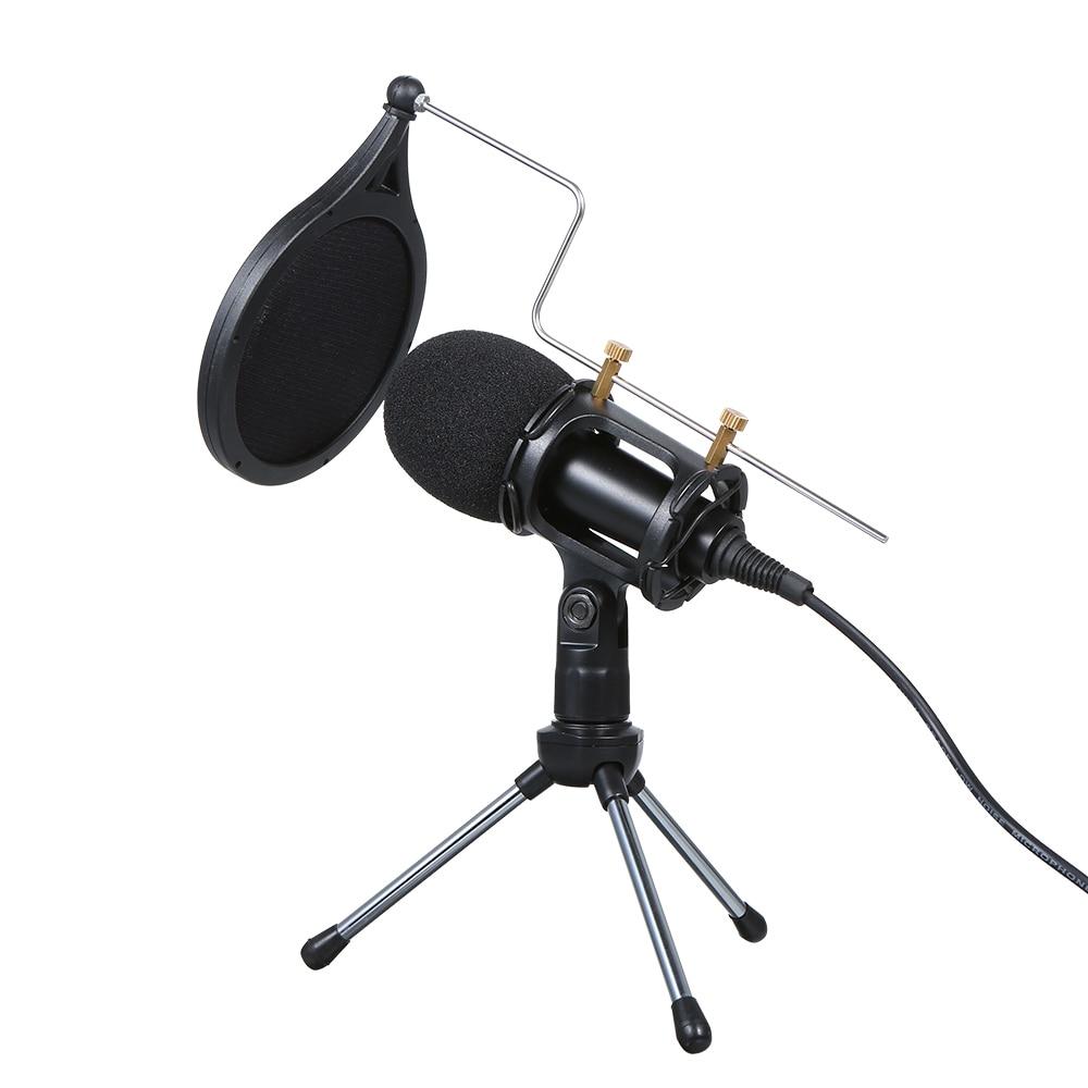 Condensador com Fio de Áudio Mic com Suporte para Microfones de Telefone Microfone Estúdio Gravação Vocal Ktv Live Webcast pc 3.5mm