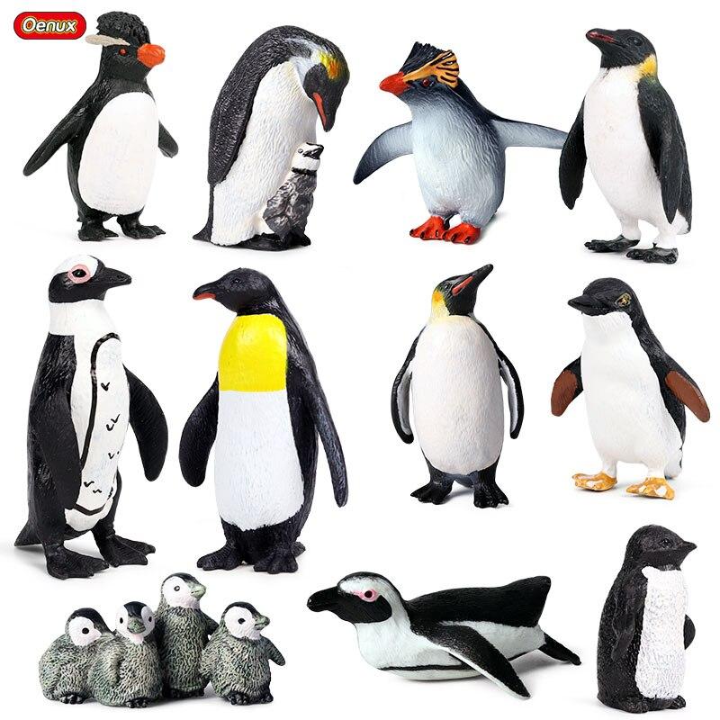 Oenux Classic South Pole Animal Sealife Emperor Penguin Cub Model Action Figures Miniature Cute Educational Decoration Kid Toys